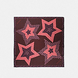 SIGNATURE LUCKY STAR PATCHWORK SILK SQUARE - F39391 - OXBLOOD