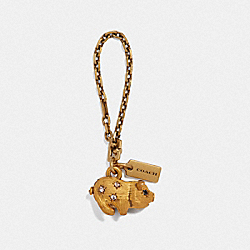 JEWELED PIG BAG CHARM - F39404 - B4/BRASS