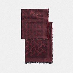 COACH F39418 Horse And Carriage Lurex Shawl OXBLOOD