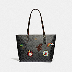 COACH F39465 City Zip Tote In Signature Canvas With Wizard Of Oz Patches BLACK SMOKE MULTI/LIGHT GOLD