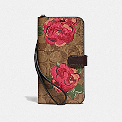 IPHONE XS MAX FOLIO IN SIGNATURE CANVAS WITH NEON FLOWER PRINT - F39479 - KHAKI/MULTICOLOR