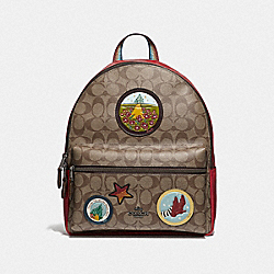 MEDIUM CHARLIE BACKPACK IN SIGNATURE CANVAS WITH WIZARD OF OZ PATCHES - F39480 - KHAKI/MULTI/BLACK ANTIQUE NICKEL