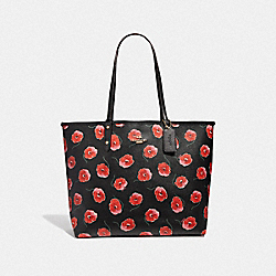 COACH F39481 - REVERSIBLE CITY TOTE WITH POPPY PRINT BLACK MULTI/BLACK/LIGHT GOLD