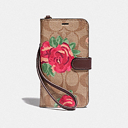 IPHONE X/XS FOLIO IN SIGNATURE CANVAS WITH NEON FLOWER PRINT - F39483 - KHAKI/MULTICOLOR