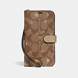 COACH F39485 - IPHONE XR PHONE FOLIO IN SIGNATURE CANVAS WITH POP STAR PRINT KHAKI/MULTICOLOR