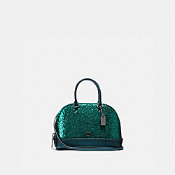 COACH F39497 - WIZARD OF OZ GLITTER MICRO MINI SIERRA SATCHEL EMERALD/BLACK ANTIQUE NICKEL