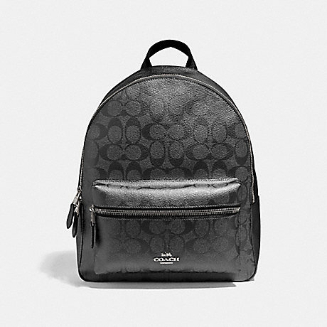 COACH F39510 MEDIUM CHARLIE BACKPACK IN SIGNATURE CANVAS<br>蔻驰中查理背包在签名画布 青铜/银