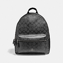 MEDIUM CHARLIE BACKPACK IN SIGNATURE CANVAS - F39510 - GUNMETAL/SILVER