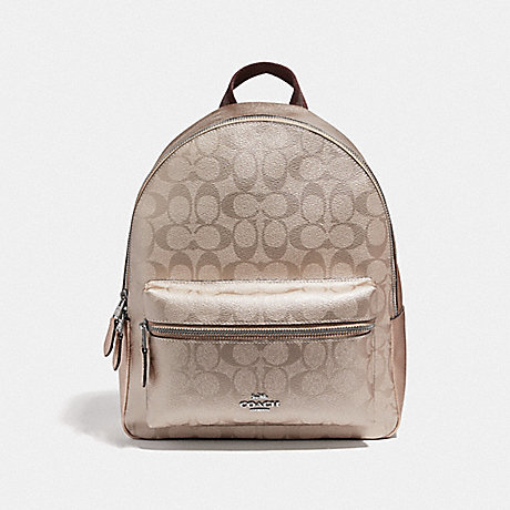 COACH F39510 MEDIUM CHARLIE BACKPACK IN SIGNATURE CANVAS<br>蔻驰中查理背包在签名画布 铂白银