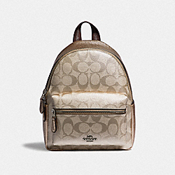 MINI CHARLIE BACKPACK IN SIGNATURE CANVAS - F39511 - PLATINUM/SILVER