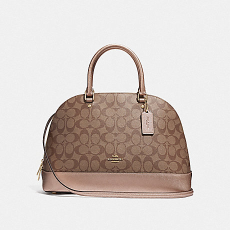 74eac9a551f COACH F39517 SIERRA SATCHEL IN SIGNATURE CANVAS KHAKI/ROSE GOLD/LIGHT GOLD