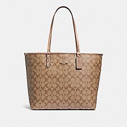 REVERSIBLE CITY TOTE IN SIGNATURE CANVAS - F39518 - KHAKI/ROSE GOLD/LIGHT GOLD