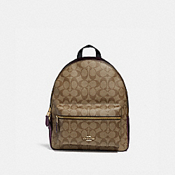 MEDIUM CHARLIE BACKPACK IN SIGNATURE CANVAS - F39522 - KHAKI/METALLIC RASPBERRY/LIGHT GOLD