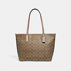 COACH F39523 City Zip Tote In Signature Canvas KHAKI/ROSE GOLD/LIGHT GOLD