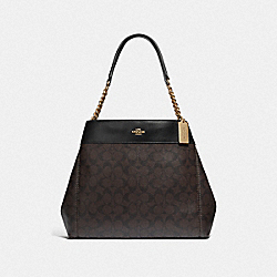 LEXY CHAIN SHOULDER BAG IN SIGNATURE CANVAS - F39526 - BROWN/BLACK/LIGHT GOLD
