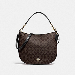 COACH F39527 - ELLE HOBO IN SIGNATURE CANVAS BROWN/BLACK/LIGHT GOLD