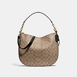 ELLE HOBO IN SIGNATURE CANVAS - F39527 - KHAKI/BLACK/IMITATION GOLD
