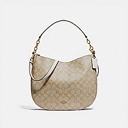 ELLE HOBO IN SIGNATURE CANVAS - F39527 - LIGHT KHAKI/CHALK/LIGHT GOLD