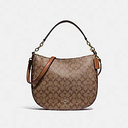 ELLE HOBO IN SIGNATURE CANVAS - F39527 - KHAKI/SADDLE 2/LIGHT GOLD