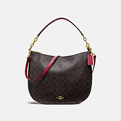 ELLE HOBO IN SIGNATURE CANVAS - F39527 - BROWN/TRUE RED/LIGHT GOLD