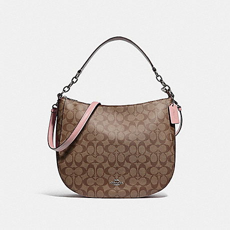 COACH F39527 ELLE HOBO IN SIGNATURE CANVAS<br>蔻驰ELLE流浪汉在签名画布 卡其/瓣/银
