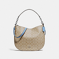 ELLE HOBO IN SIGNATURE CANVAS - F39527 - LT KHAKI/CORNFLOWER/SILVER