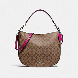 COACH F39527 Elle Hobo In Signature Canvas KHAKI/CERISE/SILVER