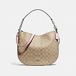 ELLE HOBO IN SIGNATURE CANVAS - F39527 - LIGHT KHAKI/CARNATION/SILVER