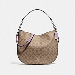 ELLE HOBO IN SIGNATURE CANVAS - F39527 - KHAKI/JASMINE/SILVER
