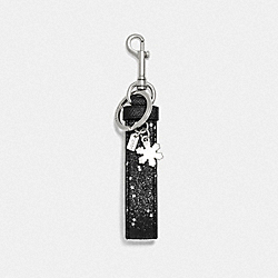 COACH F39531 - STAR GLITTER LOOP BAG CHARM BLACK/SILVER