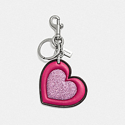 GLITTER HEART BAG CHARM - F39533 - OXBLOOD/SILVER