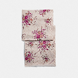 COACH F39537 Signature Floral Bundle Print Oblong Scarf CHALK