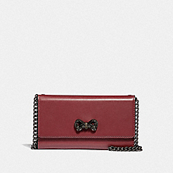 COACH F39542 - SELENA TRIFOLD PHONE CASE WITH CRYSTAL EMBELLISHMENT WINE/DARK GUNMETAL
