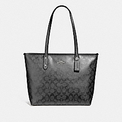 COACH F39555 City Zip Tote In Signature Canvas GUNMETAL/SILVER