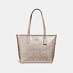 COACH F39555 City Zip Tote In Signature Canvas PLATINUM/SILVER