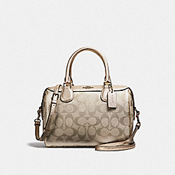 MINI BENNETT SATCHEL IN SIGNATURE CANVAS - F39557 - PLATINUM/SILVER