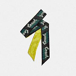 COACH F39566 Signature Neon Silk Skinny Scarf NEON YELLOW