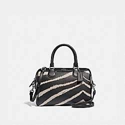 COACH F39586 Mini Bennett Satchel With Zebra Print BLACK CHALK/SILVER