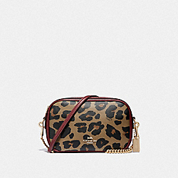 COACH F39587 Isla Chain Crossbody With Leopard Print NATURAL/LIGHT GOLD