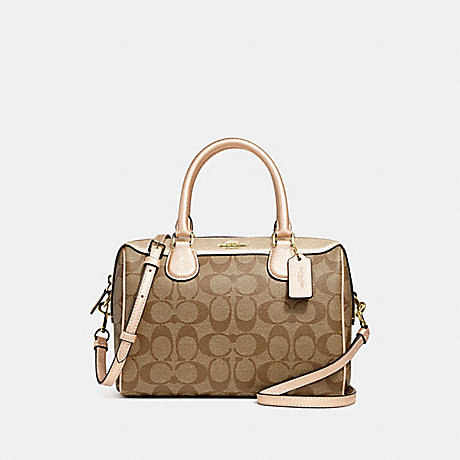 COACH F39588 MINI BENNETT SATCHEL IN SIGNATURE CANVAS GOLD/KHAKI/PLATINUM