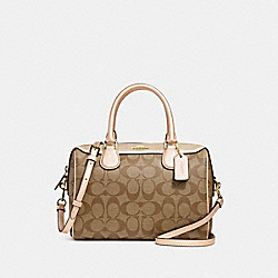 MINI BENNETT SATCHEL IN SIGNATURE CANVAS - F39588 - GOLD/KHAKI/PLATINUM