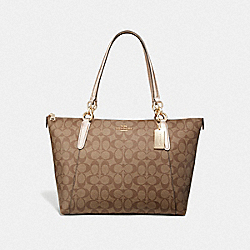 COACH F39589 Ava Tote In Signature Canvas KHAKI/ROSE GOLD/LIGHT GOLD