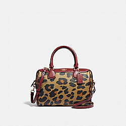 COACH F39592 Mini Bennett Satchel With Leopard Print NATURAL/LIGHT GOLD