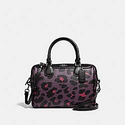COACH F39592 Mini Bennett Satchel With Leopard Print OXBLOOD 1/BLACK ANTIQUE NICKEL