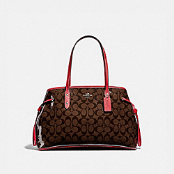 COACH F39593 - DRAWSTRING CARRYALL IN SIGNATURE CANVAS BROWN/RED/SILVER