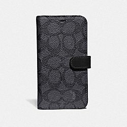 COACH F39597 - IPHONE X/XS FOLIO IN SIGNATURE LEATHER GRAPHITE