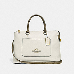EMMA SATCHEL - F39604 - CHALK/NEUTRAL/LIGHT GOLD