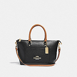 MINI EMMA SATCHEL - F39605 - BLACK/SADDLE/LIGHT GOLD