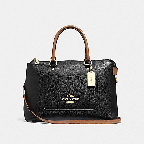 COACH F39606 EMMA SATCHEL BLACK/SADDLE/LIGHT GOLD