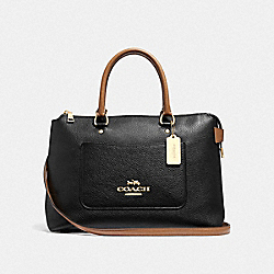 EMMA SATCHEL - F39606 - BLACK/SADDLE/LIGHT GOLD